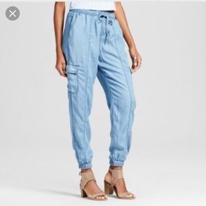 Mossimo | chambray utility blue joggers M NWT